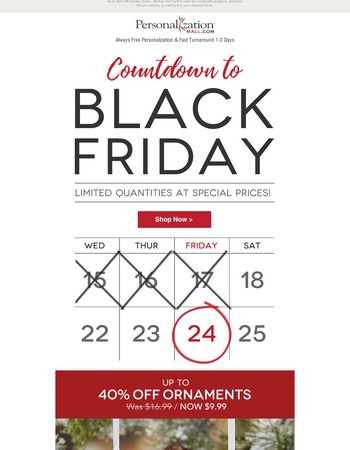 Countdown To Black Friday - Don't Miss Out On Huge Savings!