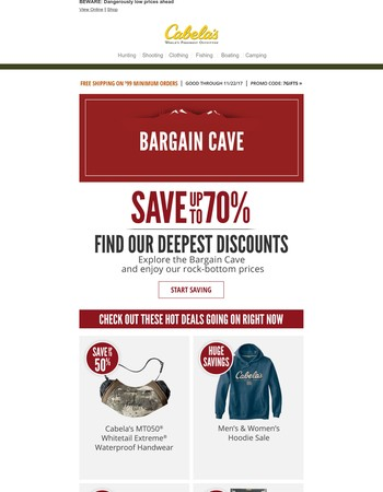 CAUTION: Falling Prices Inside The Bargain Cave