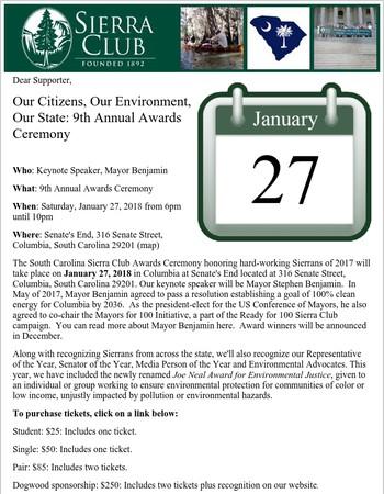 SC Sierra Club -- 9th Annual Awards Ceremony Invitation