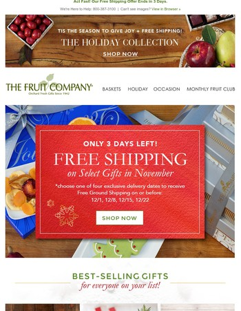 Free Holiday Shipping - Only 3 Days Left on Select Gifts!