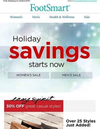 Holiday Savings start NOW! Easy Spirit, ABEO, Clarks & more...