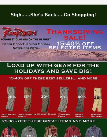 Crazy Pam's Pre-Thanksgiving Sale - 15-40% off....!