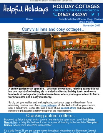 Cosy holiday cottages handy for the local pub…
