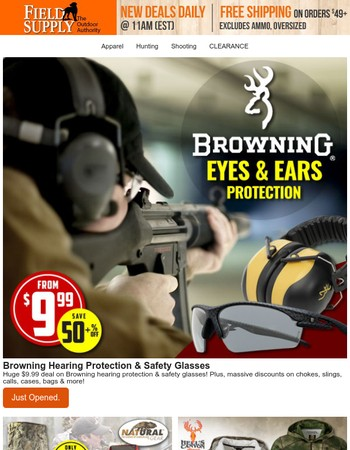 Eye on the prize: from $9.99 Browning hearing & eye protection.