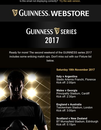 GUINNESS Series 2017!  10% OFF all Outerwear & Hoodies just for you!