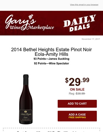 Sommelier Selection: The Perfect Pinot for Thanksgiving with Free Shipping