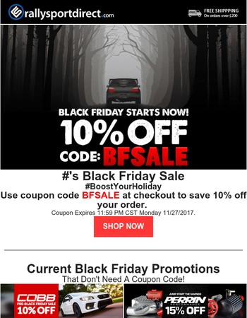 Black Friday Sale Starts NOW at RallySport Direct!