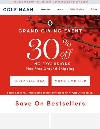 TGIF. Take 30% Off Everything. No Exclusions.