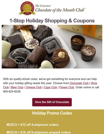 Save $25 - 1-Stop Holiday Shopping with 6 Clubs