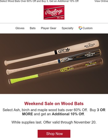 Weekend Sale! Save Over 60% on Select Wood Bats