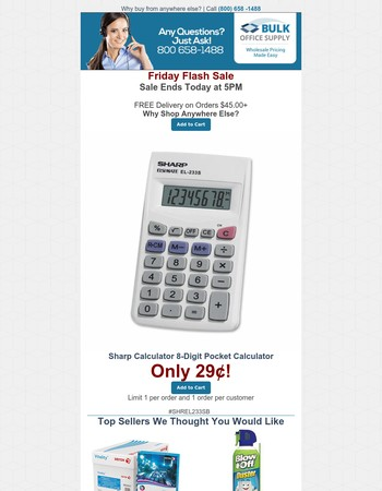 Only 29 Cents for Sharp Calculator