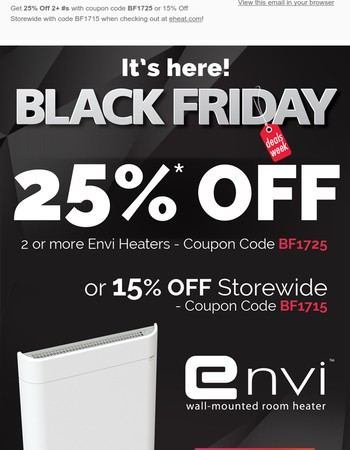 It's Here! Envi Heater Black Friday Deals are Live: Get 25% Off!