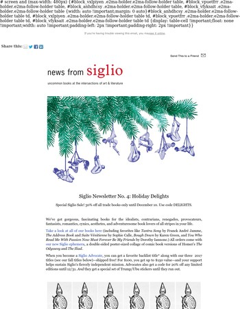 30% off Siglio books for the holidays!