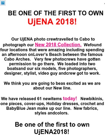 Important notice  UjENA 2018 is in Stock for YOU!