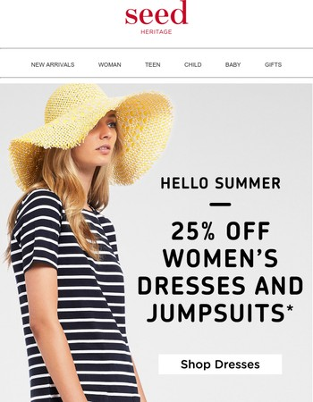 25% off Women's Full Price Dresses & Jumpsuits*
