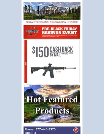 $150 Cash Back on Bushmaster QRC - Ends tomorrow 11/18/2017!