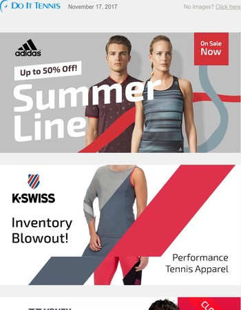 Tennis Apparel Inventory Blowout! Up to 70% Off Adidas, K-Swiss, & Yonex