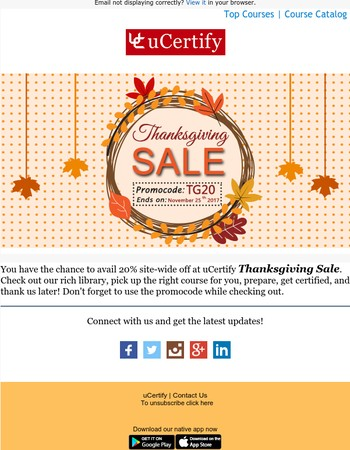 Get 20% off at uCertify Thanksgiving Sale
