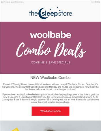 Now's The Time!  Woolbabe Deal PLUS Click Mania Up To 60% OFF Specials - More Styles Added