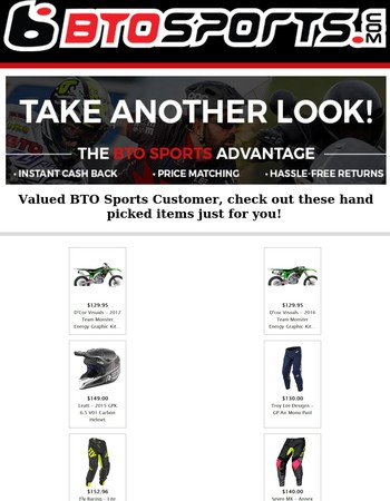 Valued BTO Sports Customer We Have Hand Picked Items Just For You!