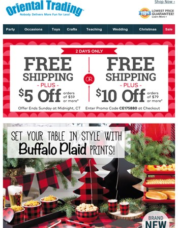 2 Days Only! Free Shipping + Up to $10 Off Holiday Party Supplies
