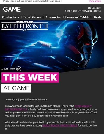 This week at GAME: the force is strong with the release of Star Wars™ Battlefront™ II