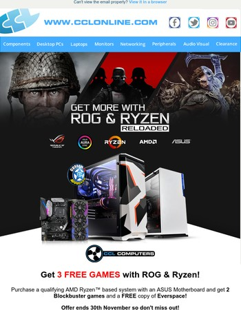 Get 3 FREE Games with ASUS & Ryzen and More Great Deals & Offers at CCLOnline.com!