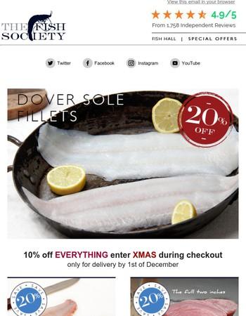 20% off Dover Sole Fillets & Red Mullet Fillets