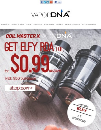 VaporDNA Holiday Promotion Week begins now!  Get Coilmaster ELFY RDA for 99 Cents!