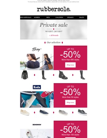 Don't miss out! Up to 50% off Betty London, Keds, Bensimon, Roxy and Ted Baker with free delivery