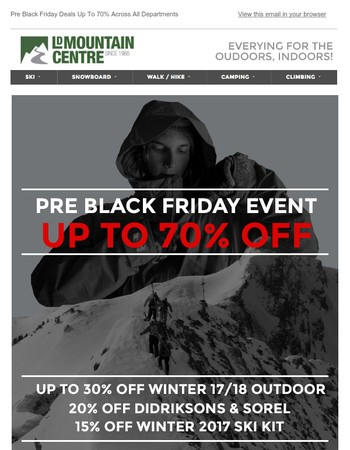 Up To 70% Off Across All Departments - Pre Black Friday Weekend Only!
