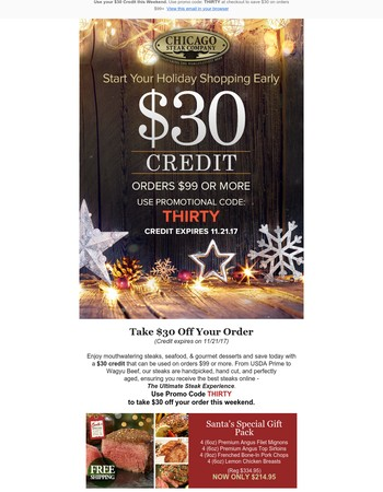 Your $30 Credit Expires Soon - Holiday Shopping Starts Now!