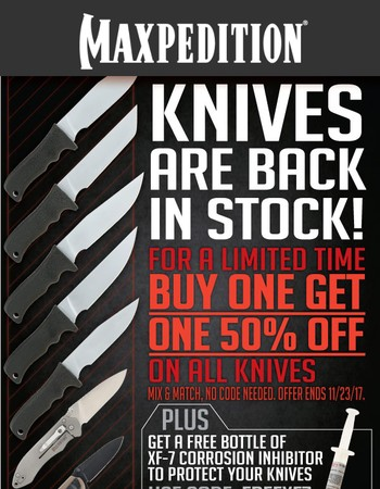 Maxpedition Knives - Now In-Stock and on Sale