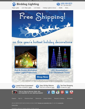 Get Free Shipping on Laser Light Projectors & LED Showmotion Christmas Trees!