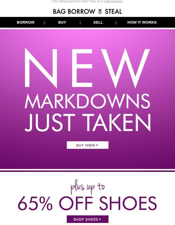 New Markdowns JUST Taken + Up to 65% off SHOES