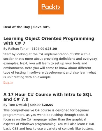 Powerful C# programming at 80% off today only