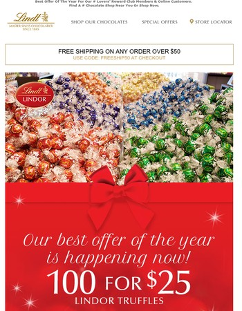 100 For $25 LINDOR Truffles Happening Now!