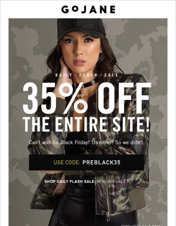 Can't Wait: 35% Off The Entire Site!