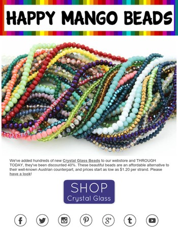 LAST DAY - Save 40% - Crystal Glass Beads