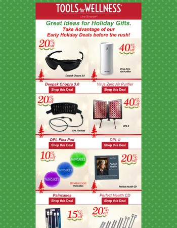 Checkout or Early Holiday Specials! 15% - 40% Great Holiday ideas!