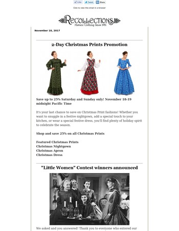 Christmas Prints - 2 days only! | Contest Winners | Late Victorian Fashions