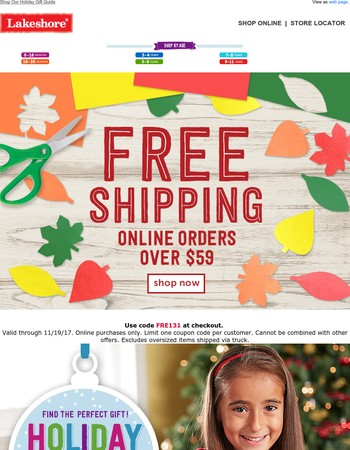 Last Chance! Free Shipping Over $59
