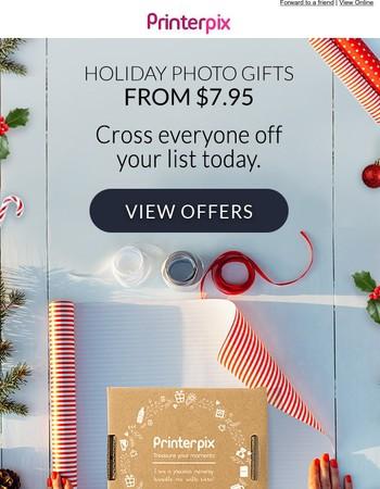 Holiday photo gifts starting at $7.95.