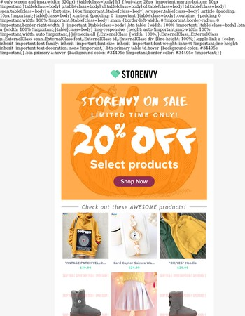 Storenvy on Sale: 20% Off This Weekend Only