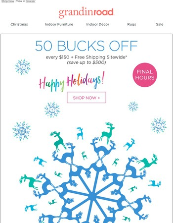Save up to $500 + Free Ship LAST CHANCE–snowing big bucks