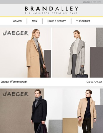 Up to 70% off Jaeger for men & women. Plus Hobbs, Reiss, Ortiz & Reed, Cottonreal, Mitzuko pearls, Stoneglow and an extra 20% off Mirrors.