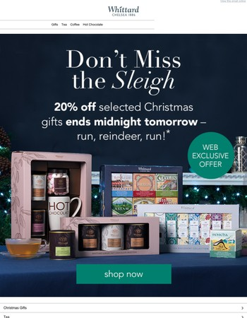 Be quick - 20% off gifts is ending