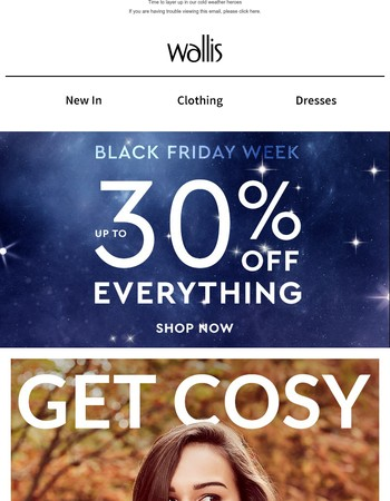 Up to 30% off everything starts now!