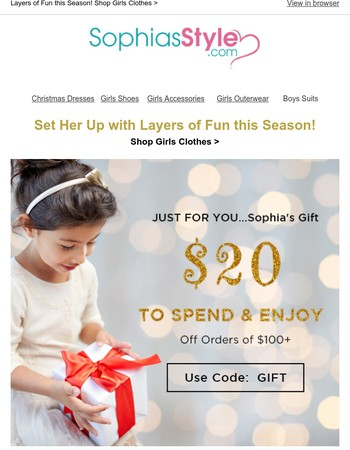 Early Christmas Gift for You! $20 to Spend & Enjoy on $100+Order