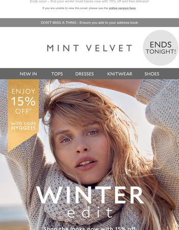 15% off winter & Free delivery – ends tonight!